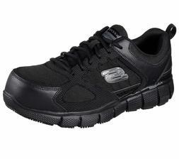 77132 Wide Fit Black Skechers shoes Work Men Memory Foam Sli