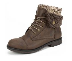 CLIFFS BY WHITE MOUNTAIN HIKING BOOTS KNIT FLEECE CUFFS BROW