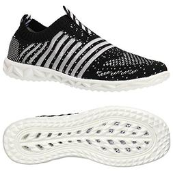 ALEADER Women's Hydro Lite-Knit Slip-On Water Shoes Black 9