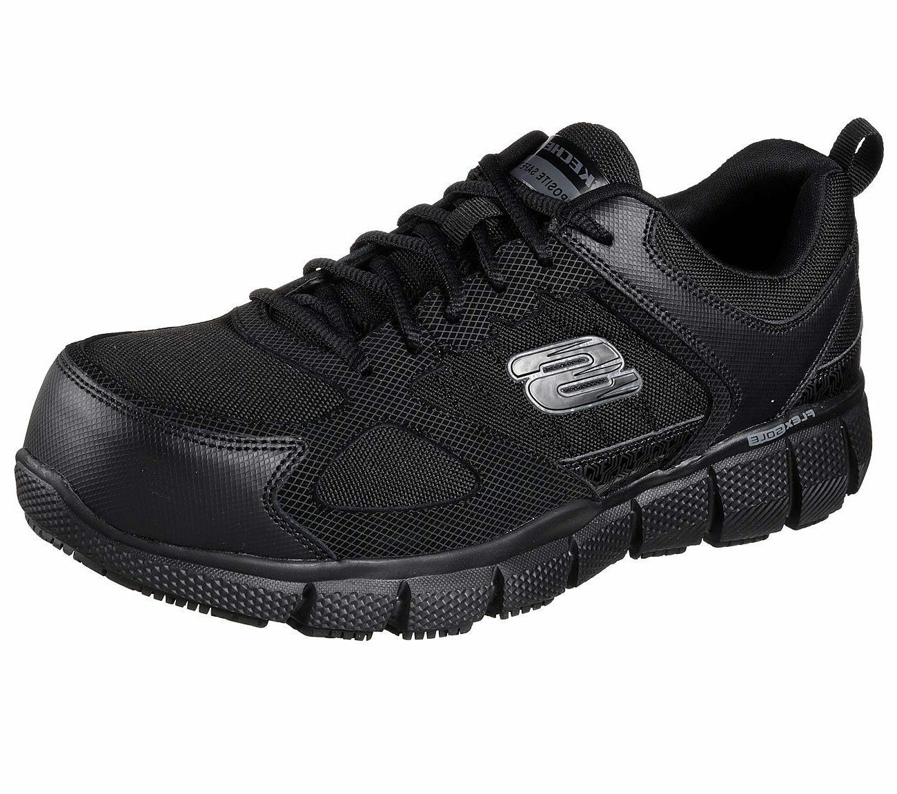 77132 wide fit black shoes work men