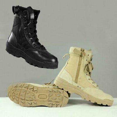 MEN Tactical Leather Forced Deployment SWAT Boots Hiking-Outdoor