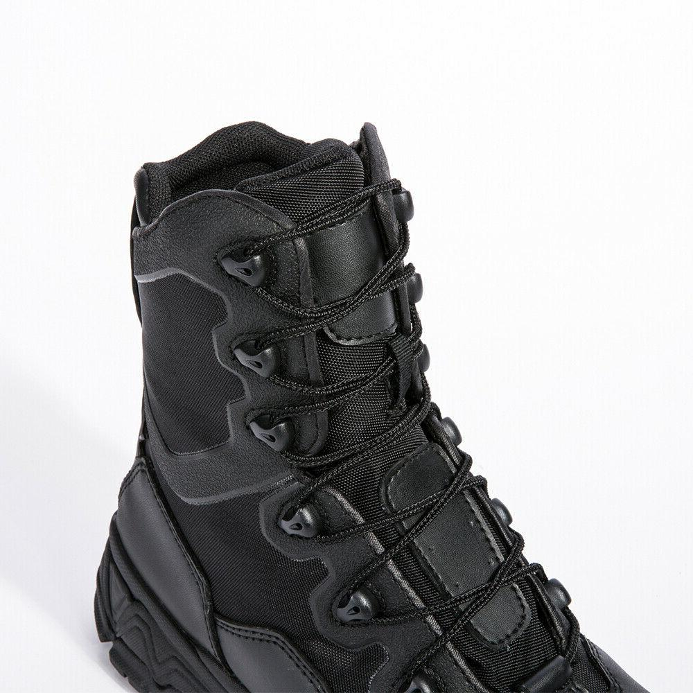Mens Combat Army Boots 8'' Waterproof Zipper
