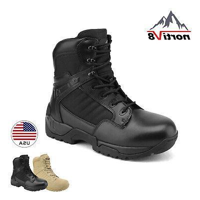 men waterproof military tactical work boots side