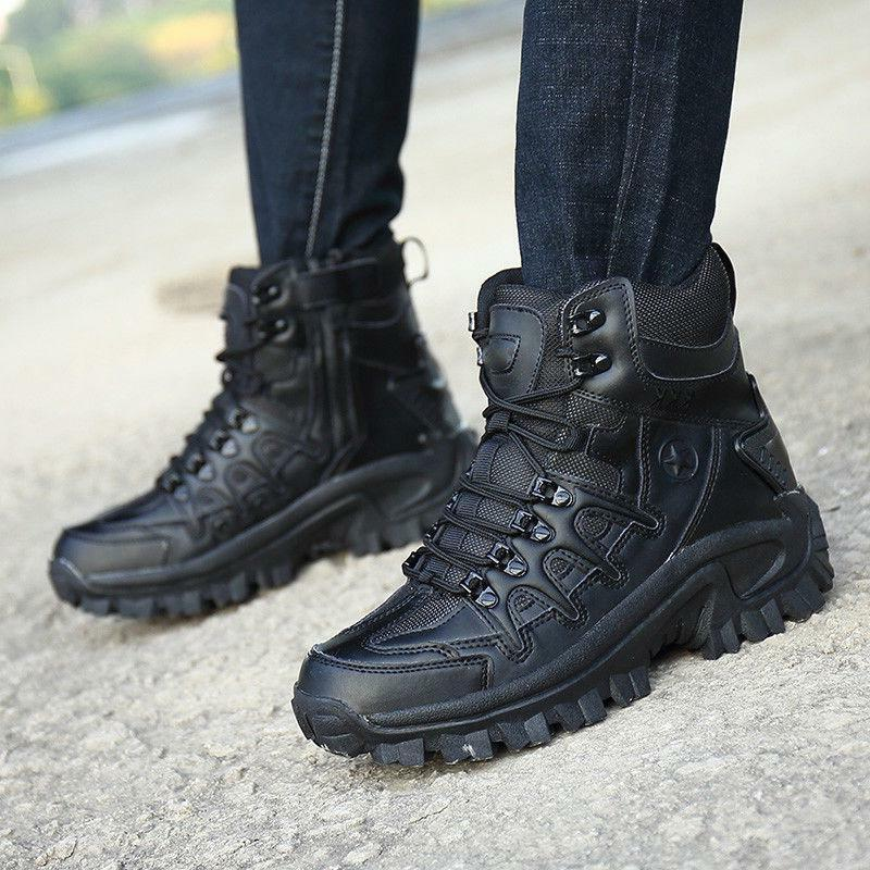 Mens High Military Tactical Boots Hiking Combat