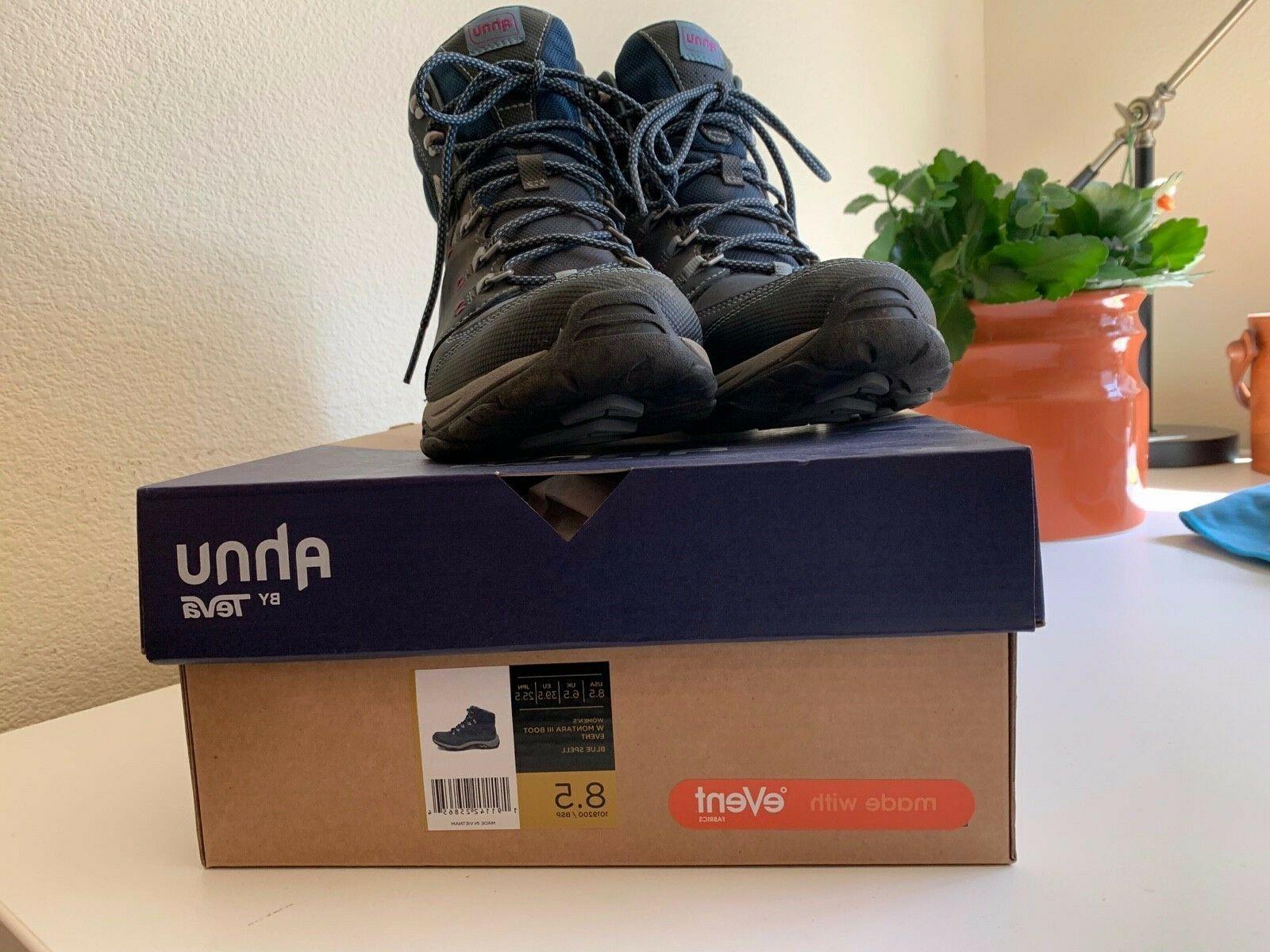 Womens Size 8.5 Ahnu Teva Montara III Blue Spell Hiking