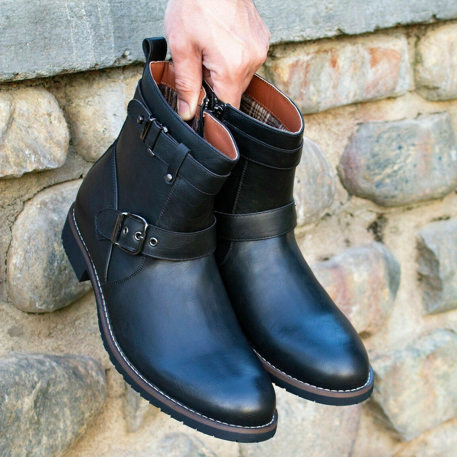 Men's Motorcycle Leather Buckle Round-toe Boots