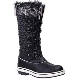 ALEADER Women's Lace Up Waterproof Winter Snow Boots Black 1