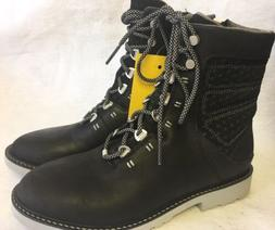 Ahnu Laurel Heights Rugged Black Leather Mid Boots Women's s