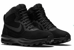 NIB Mens Nike Manoadome Leather Shoes Boots TRIPLE BLACK 844