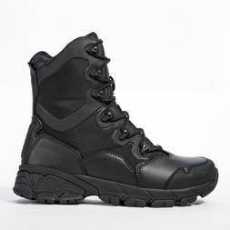 Men's Black Leather Army Boots Military Tactical Combat Wate