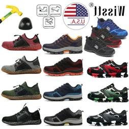 Men's Safety Mesh Shoes Steel Toe Work Boots Breathable Hiki
