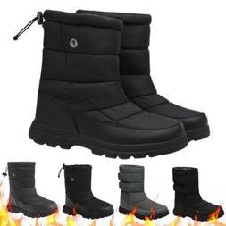 Men's Winter Warm Mid-calf Snow Boots Fleece Lined Waterproo