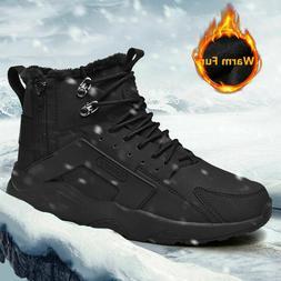 Men's Winter Warm Snow Boots Outdoor Waterproof Slip on Ankl