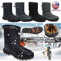Men's Winter Waterproof Snow Boots Non-Slip Warm Fur Lined O