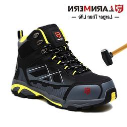 LARNMERN Men Steel-Toe Work Boots Outdoors Hiking Boots Wate