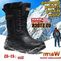 Men Winter Snow Boots Outdoor Hiking Warm Fleece Lined Water