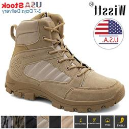 Mens High Top Military Tactical Boots Desert Army Hiking Com