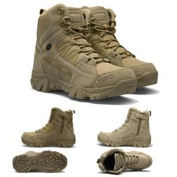 Mens Waterproof Hiking Boots Non-slip Side Zip Backpacking T