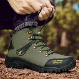 MENS LEATHER WATERPROOF WALKING HIKING TRAIL ANKLE BOOTS SPO