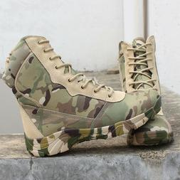 Mens outdoor camo highTop combat boots military hiking water