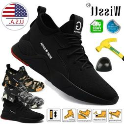 Mens Safety Shoes Steel Toe Work Boots Breathable Hiking Cli