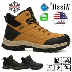 Mens Snow Boots Winter Waterproof Leather Warm Fur Lined Wor