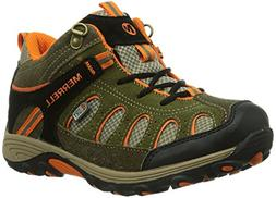 Boy's Merrell 'Chameleon' Mid High Waterproof Boot Olive/ Or