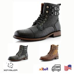 Men's Stylish Motorcycle Combat Work Casual Formal Lace-Up Z