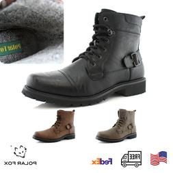 Men's Casual Dress Work Motorcycle Combat Mid-Top Lace Up Ri