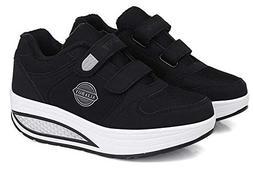 YUBUKE Women's Platform Low Top Sneakers Cotton Platform Sne