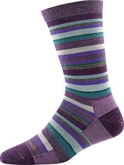 Darn Tough Sassy Stripe Crew Light Sock - Women's Plum Mediu