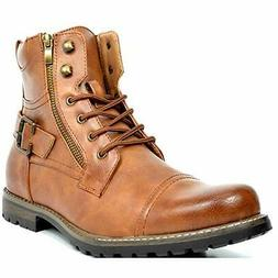 US Men's Combat Motocycle Boots Lace-Up Riding Hiking Buckle