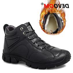 Winter Waterproof Hiking Shoes Men Outdoor Leather Warm Fur