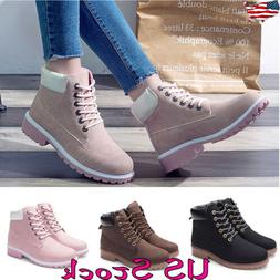 Women Winter Martin Combat Low Heel Ankle Boots Hiking Comba