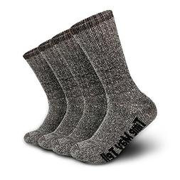 2 Pairs Wool Thermal Thick Hiking Crew Winter Athletic Socks